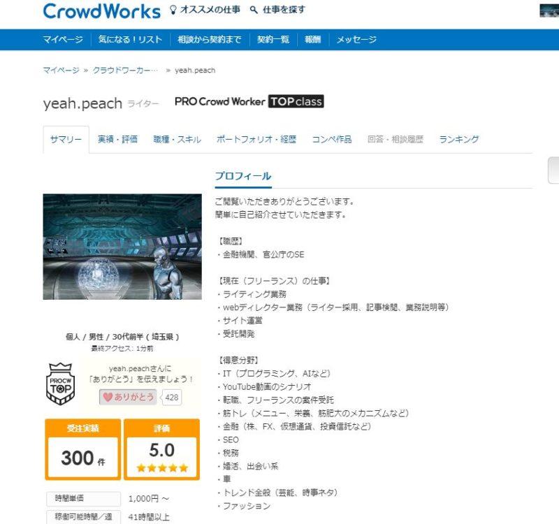 CWのプロフィールページ